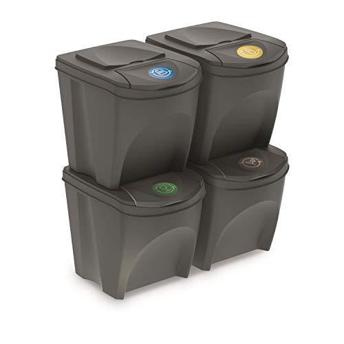 PROSPERPLAST 161634 Set of 4 Cubes 100L Prosper SORTIBOX Plastic Gray...