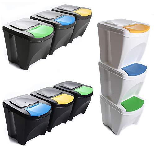 Mülleimer Abfalleimer Mülltrennsystem 75L - 3x25L Behälter Sorti...