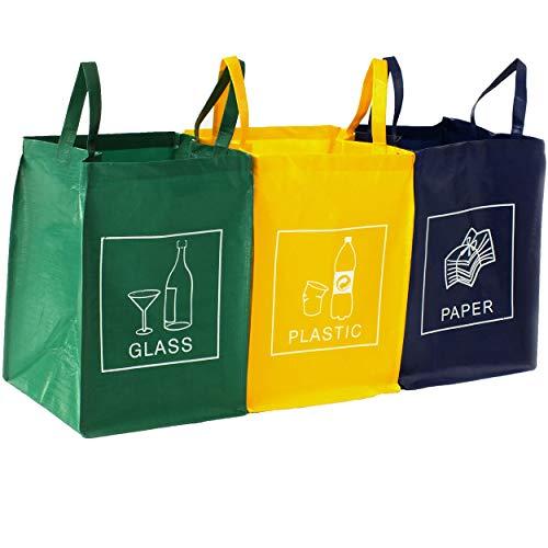 TRESKO Mülltrennsystem 3-in-1 Mülleimer für Glas, Plastik und...