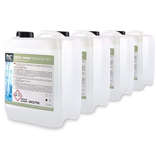 Höfer Chemie 4 x 5 L Essigsäure 60% frisch abgefüllt in praktischen...