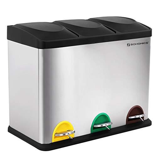 SONGMICS Mülleimer für die Küche, Abfallbehälter, 45 Liter,...