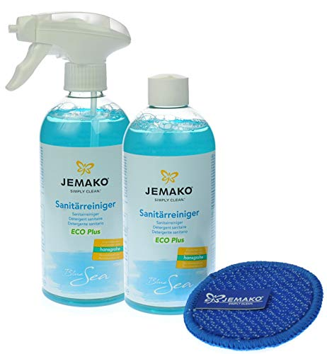 1 Liter Jemako Sanitärreiniger (Blue Sea) ECO Plus - Duopad mini blau...