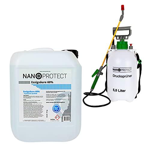 Nanoprotect Essigsäure 60% | 10 kg inkl. Drucksprüher | Premium...