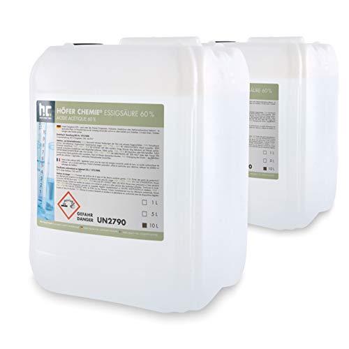 2 x 10 L Essigsäure 60% - frisch abgefüllt in handlichen 10 L...