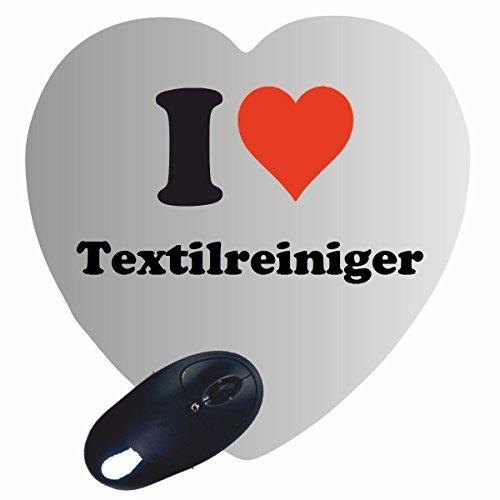 Druckerlebnis24 Herz Mauspad I Love Textilreiniger in Weiss, eine...