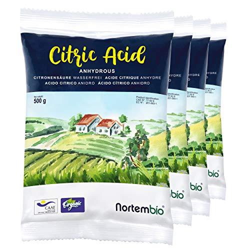 NortemBio Zitronensäure 2 Kg (4x500g). Wasserfreies Citronensäure...