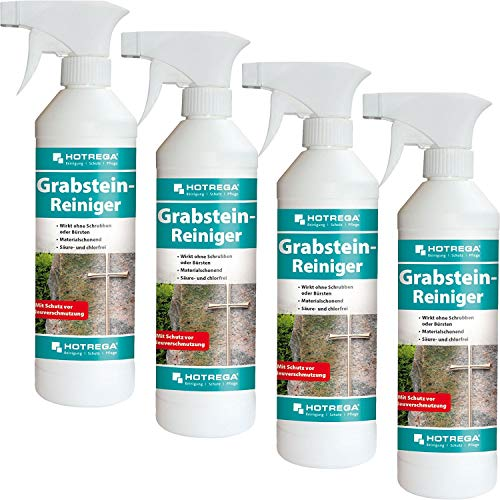 HOTREGA 4 x Grabstein-Reiniger 500ml Sprühflasche
