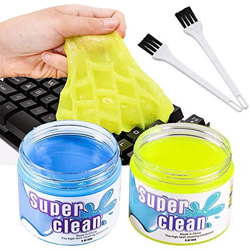 BESTZY Keyboard Cleaner Universal Cleaning Gel - 2 Cans and 2 Brushes...