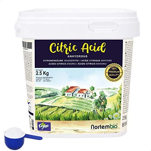 Nortembio Zitronensäure 2,5 Kg. Wasserfreies Citronensäure Pulver,...