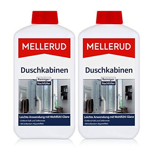 2x MELLERUD Duschkabinenreiniger 1L Set Aluminium Glas Kunststoff...