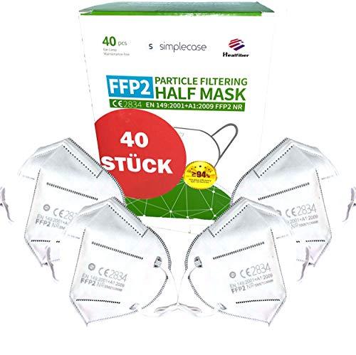 Simplecase FFP2 Maske, 40x Atemschutzmaske, Partikelfiltermaske, EU CE...