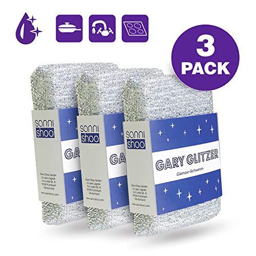 Sanni Shoo Gary Glitzer, 3-er Set. Wunderschwamm, Lurex Putz Schwamm,...