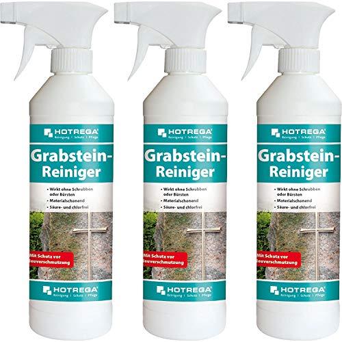 HOTREGA 3 x Grabstein-Reiniger 500ml Sprühflasche