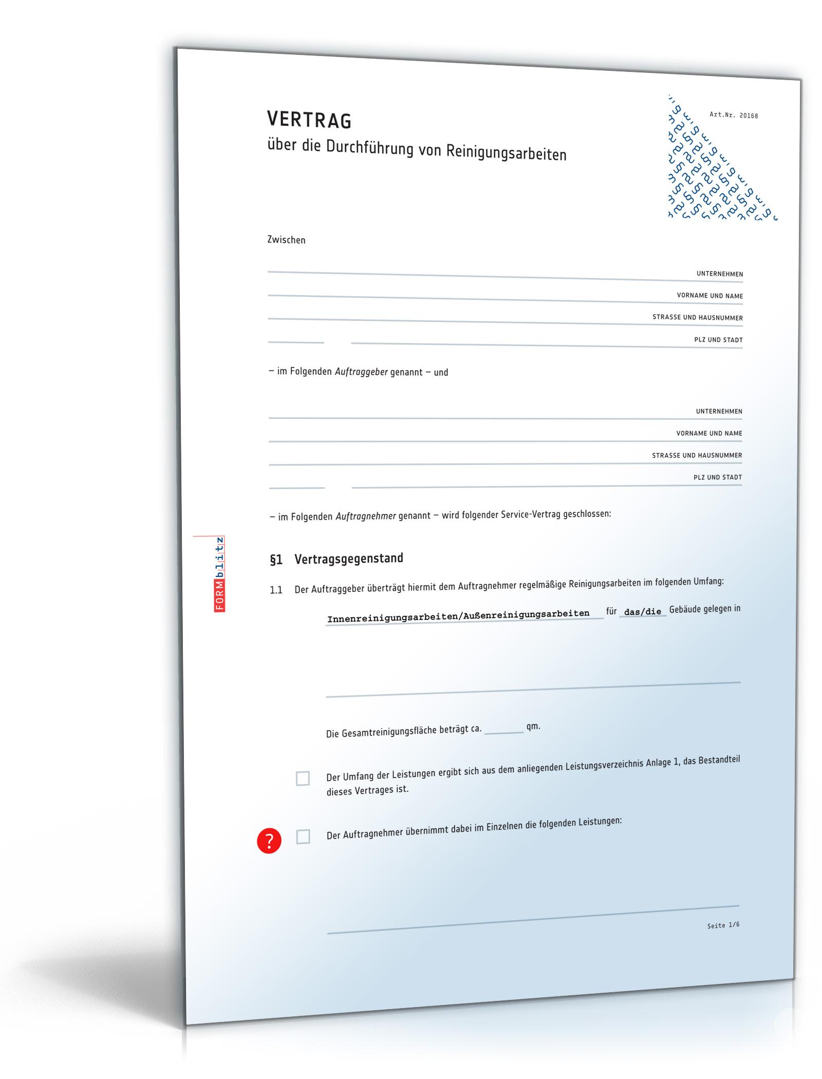 Reinigungsvertrag [PDF Download] [Download]